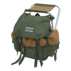 Shakespeare Folding Stool With Back Pack - Brown/Green