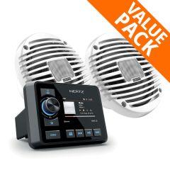 """Hertz HMR 20 AM / FM Marine Stereo & 100W HEX 6.5"""" White Speakers"""