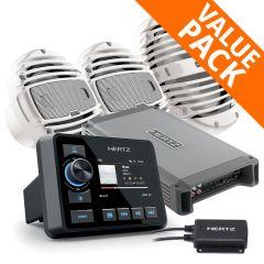 Hertz HMR 20D DAB+ Marine Stereo, 5 Ch AMP, RGB Speakers & 500W Sub