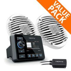"""Hertz HMR 20D DAB+ Marine Stereo & 100W HEX 6.5"""" White Speakers"""