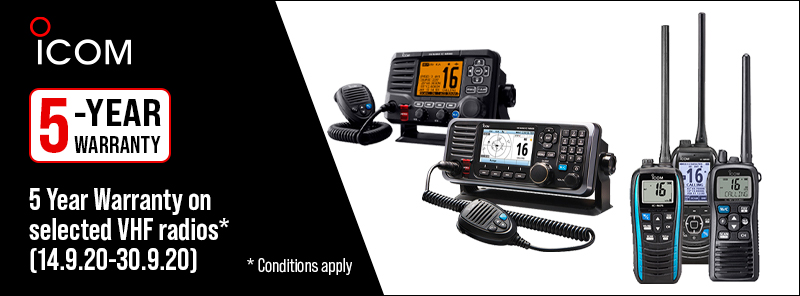 5 year warranty on selected Icom VHF radios in September